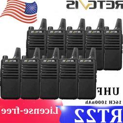 10x Retevis RT22 Walkie Talkie 2W UHF CTCSS&DCS 16CH VOX TOT