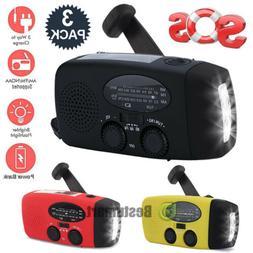 2/3Pack Emergency Solar Hand Crank Dynamo AM/FM Weather Radi