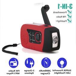 2000mAh Emergency Solar Hand Crank FM Radio MP3 Player Flash