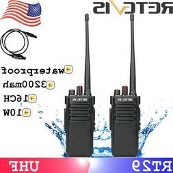 2pcs IP67 Walkie Talkie UHF Retevis RT29 10W Long range 3200