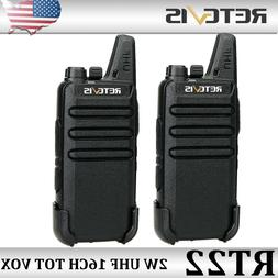 2XRetevis RT22 FRS Walkie Talkie Handheld UHF VOX 16CH Two W