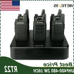6X Retevis RT22 Walkie Talkie 2W UHF 16CH VOX 2-Way Radio+6-