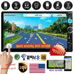 """7"""" Double 2 DIN Mirror Link Car Touch Screen MP5 Player Blue"""