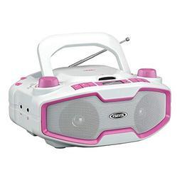 Jensen CD-575 Pink Portable Sport Stereo Boombox CD/MP3 Play