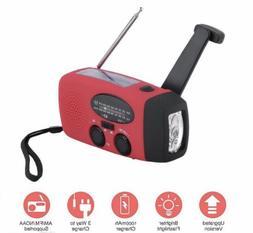 Emergency Solar Hand Crank Dynamo AMFM Radio LED Flashlight