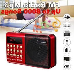 FM Mini Radio Digital LCD Speaker MP3 Music Player AUX USB T