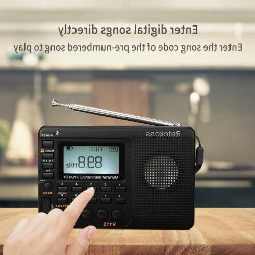 Retekess V115 Portable FM/AM Radio Sleep Timer MP3 Player Re