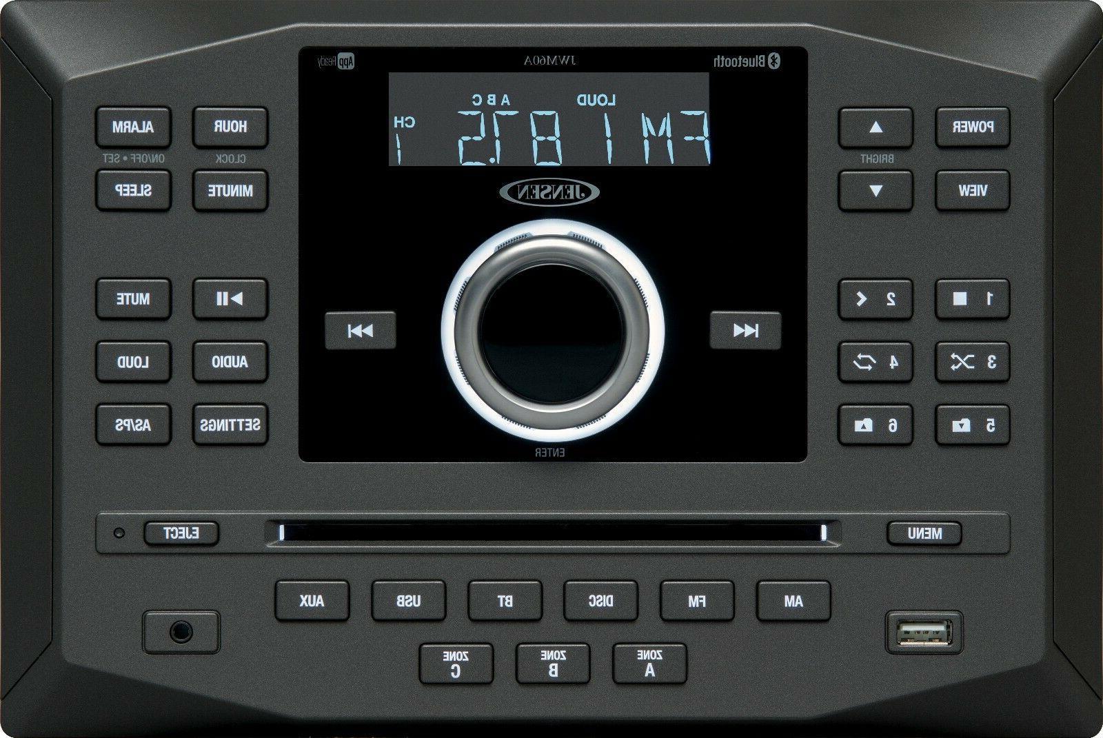 Jensen JWM60A AM FM DVD CD USB AUX App Ready Bluetooth Wallm