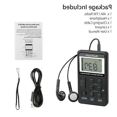 Mini Handy LCD Radio Earphone