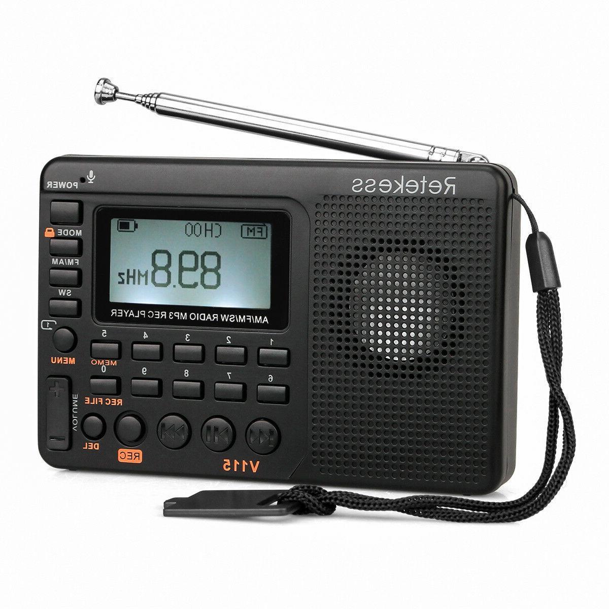 V115 Pocket FM/AM/SW Radios World Band Receiver MP3 Player R