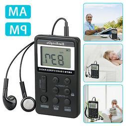 Mini Digital Portable Pocket Handy LCD AM FM Radio Rechargea