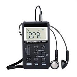 Portable Personal Radio AM/FM Digital Tuning with Landyard a