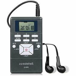 PR13 Portable FM Radio Receiver With Earphones Mini Stereo A