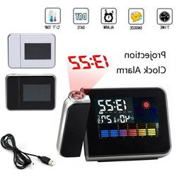 Projection Digital Alarm Clock Snooze Weather Thermometer LC