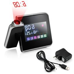 Projection Digital Weather LCD Snooze Alarm Clock Color Disp