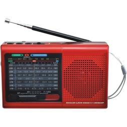 SuperSonic 9 Band Bluetooth Radio with AM/FM and SW1-7, Red