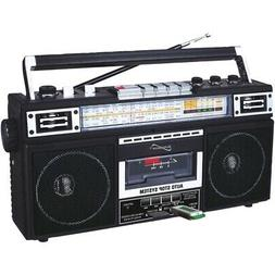 Supersonic SC-3201BT-BK Retro 4-band Radio And Cassette Play